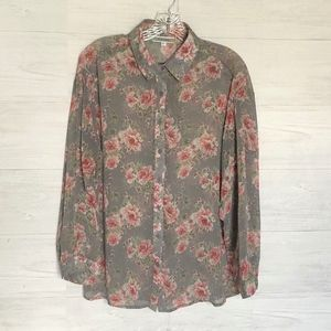Anthropologie PLEIONE Floral Top Size Large Dusty